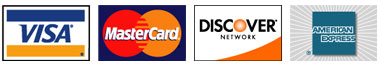 We accept Visa, MasterCard, Discover and American Express cards
